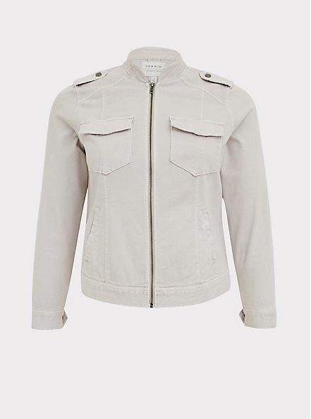 Plus Size Ivory Twill Military Bomber Jacket , GREY, hi-res