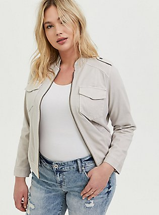 Ivory Twill Military Bomber Jacket , GREY, hi-res