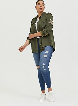 Olive Green Twill Military Embellished Jacket, GREEN, alternate