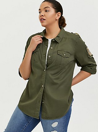 Olive Green Twill Military Embellished Jacket, GREEN, alternate