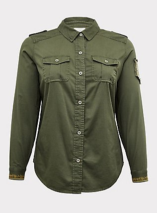 Olive Green Twill Military Embellished Jacket, GREEN, flat