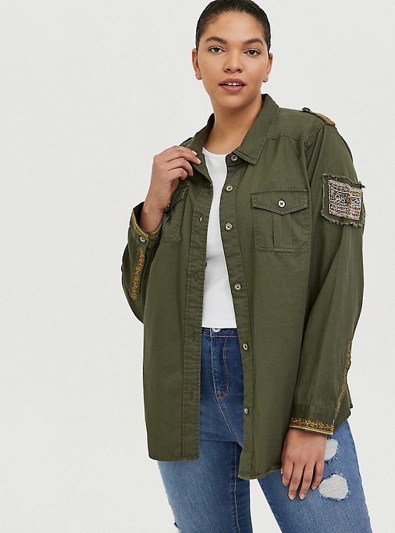 Olive Green Twill Military Embellished Jacket, GREEN, hi-res