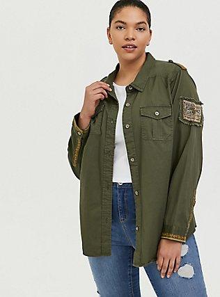 Olive Green Twill Military Embellished Jacket, GREEN, hi-res