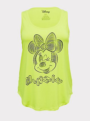 Disney Minnie Mouse Neon Yellow Active Tank, SAFETY YELLOW, flat