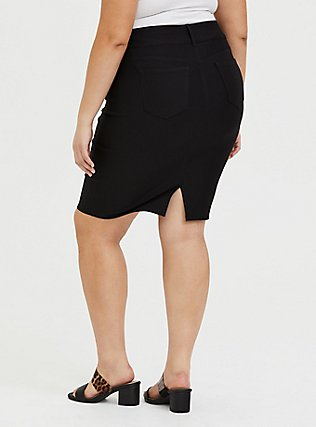 Black Premium Ponte 5-Pocket Midi Skirt, DEEP BLACK, alternate