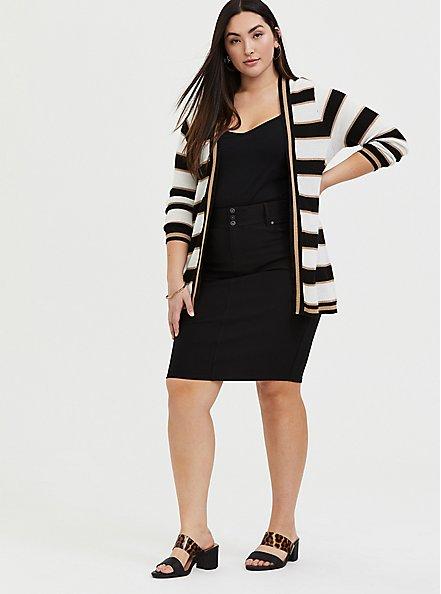 Black Premium Ponte 5-Pocket Midi Skirt, DEEP BLACK, alternate