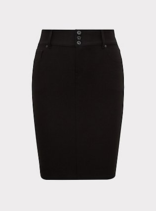 Black Premium Ponte 5-Pocket Midi Skirt, DEEP BLACK, flat