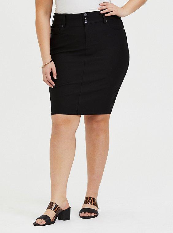 Plus Size Black Premium Ponte 5-Pocket Midi Skirt, , hi-res