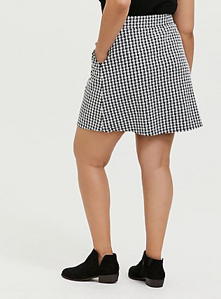 Black & White Gingham Textured Mini Skater Skirt, DEEP BLACK, alternate