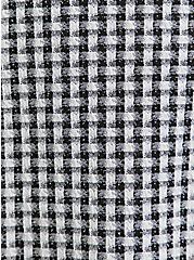 Black & White Gingham Textured Mini Skater Skirt, DEEP BLACK, alternate