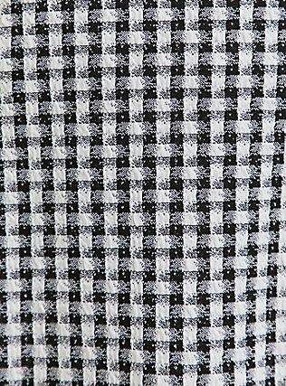 Plus Size Black & White Gingham Textured Mini Skater Skirt, DEEP BLACK, alternate