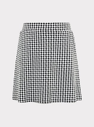 Black & White Gingham Textured Mini Skater Skirt, DEEP BLACK, flat