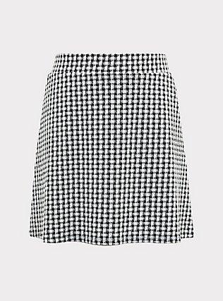 Plus Size Black & White Gingham Textured Mini Skater Skirt, DEEP BLACK, flat