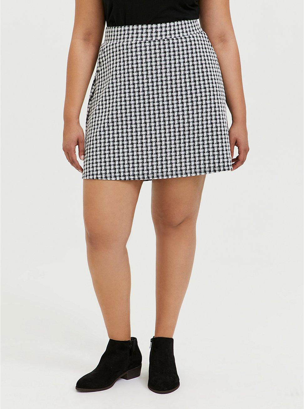 Black & White Gingham Textured Mini Skater Skirt, DEEP BLACK, hi-res