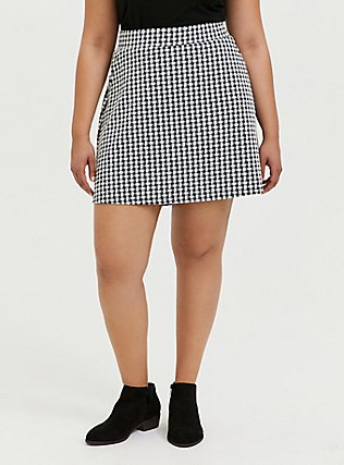 Black & White Gingham Textured Mini Skater Skirt, DEEP BLACK, hi-res