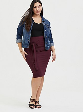 Burgundy Purple Jersey Tie Front Midi Skirt , WINETASTING, alternate