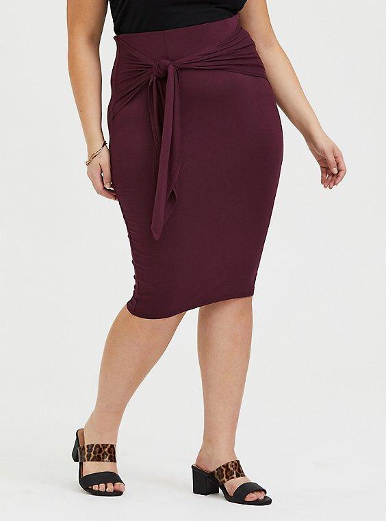 Burgundy Purple Jersey Tie Front Midi Skirt , , hi-res