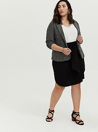 Black Challis Tie Front Shirttail Midi Skirt, DEEP BLACK, alternate