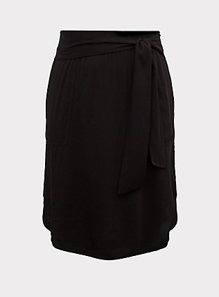 Black Challis Tie Front Shirttail Midi Skirt, DEEP BLACK, flat