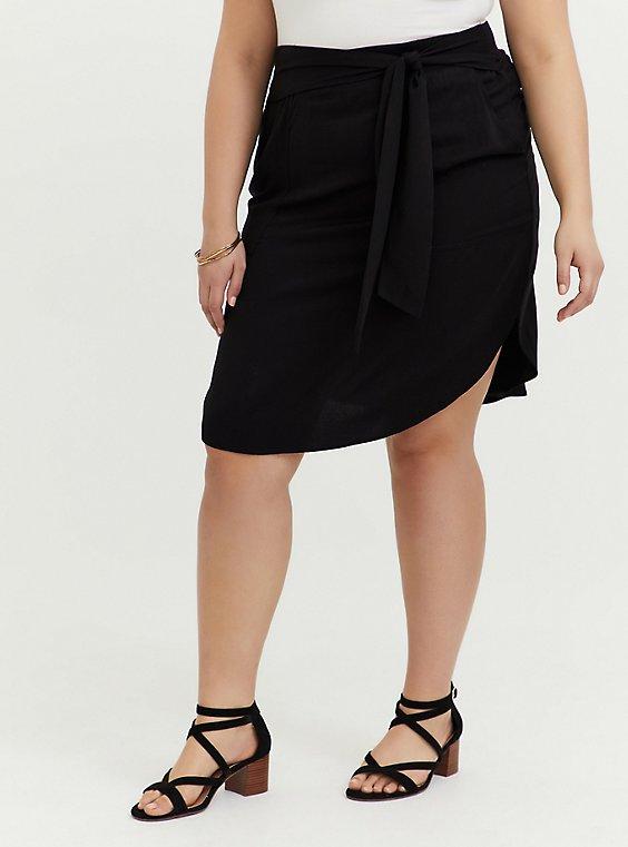 Plus Size Black Challis Tie Front Shirttail Midi Skirt, , hi-res