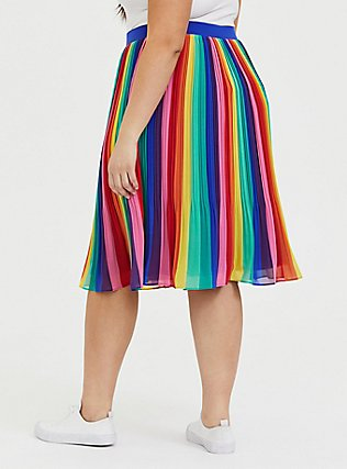 Rainbow Stripe Chiffon Pleated Midi Skirt , RAINBOW, alternate