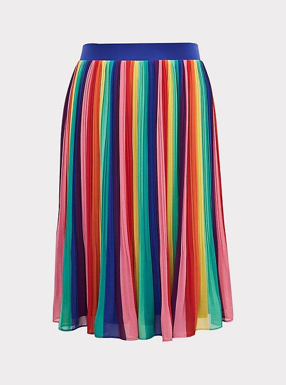 Vintage Rainbow Multicolored Midi-Skirt
