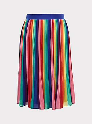 Rainbow Stripe Chiffon Pleated Midi Skirt , RAINBOW, flat