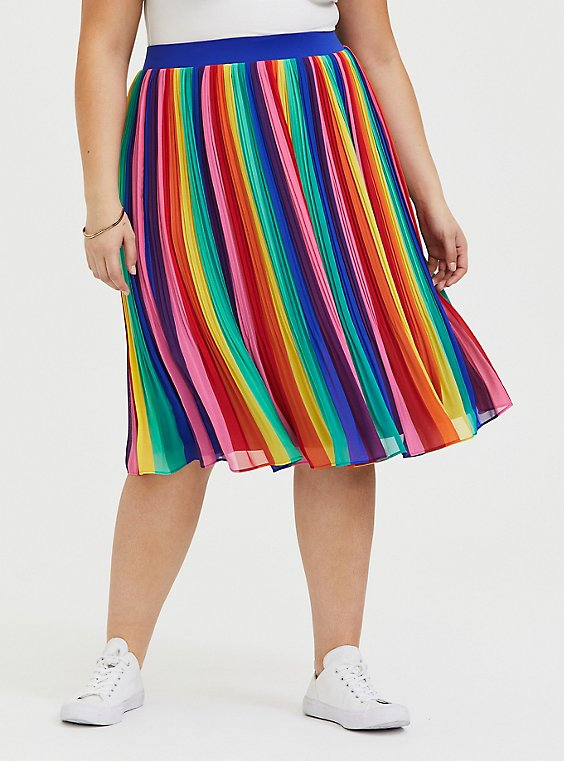 Plus Size Rainbow Stripe Chiffon Pleated Midi Skirt , , hi-res