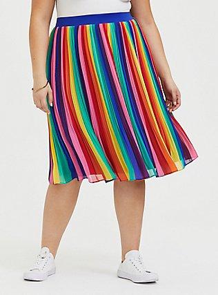 Rainbow Stripe Chiffon Pleated Midi Skirt , RAINBOW, hi-res