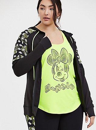 Disney Minnie Mouse Black & Neon Yellow Active Zip Hoodie, DEEP BLACK, hi-res