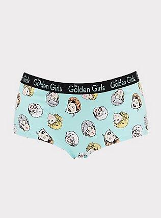 Plus Size The Golden Girls Aqua Cotton Boyshort Panty, MULTI, flat