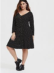 Black Polka Dot Jersey Trapeze Mini Dress, DOT -BLACK, alternate