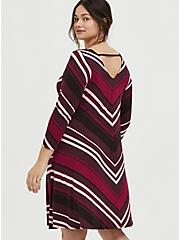 Burgundy Stripe Jersey Mini Trapeze Dress, RED STRIPE, alternate