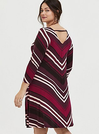 Plus Size Burgundy Stripe Jersey Mini Trapeze Dress, RED STRIPE, alternate