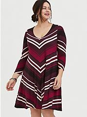 Burgundy Stripe Jersey Mini Trapeze Dress, RED STRIPE, hi-res