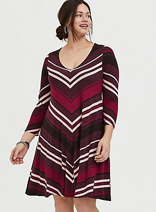 Plus Size Burgundy Stripe Jersey Mini Trapeze Dress, RED STRIPE, hi-res