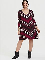 Burgundy Stripe Jersey Mini Trapeze Dress, , fitModel1-alternate