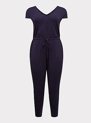 Plus Size Navy Jersey Drawstring Jumpsuit, PEACOAT, flat
