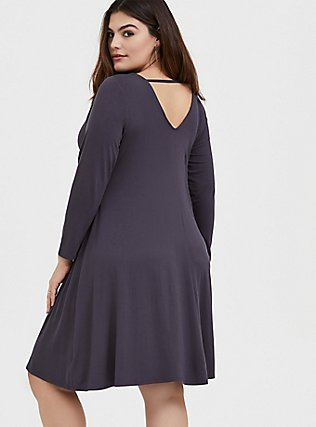 Plus Size Dark Slate Grey Jersey Trapeze Dress, NINE IRON, alternate