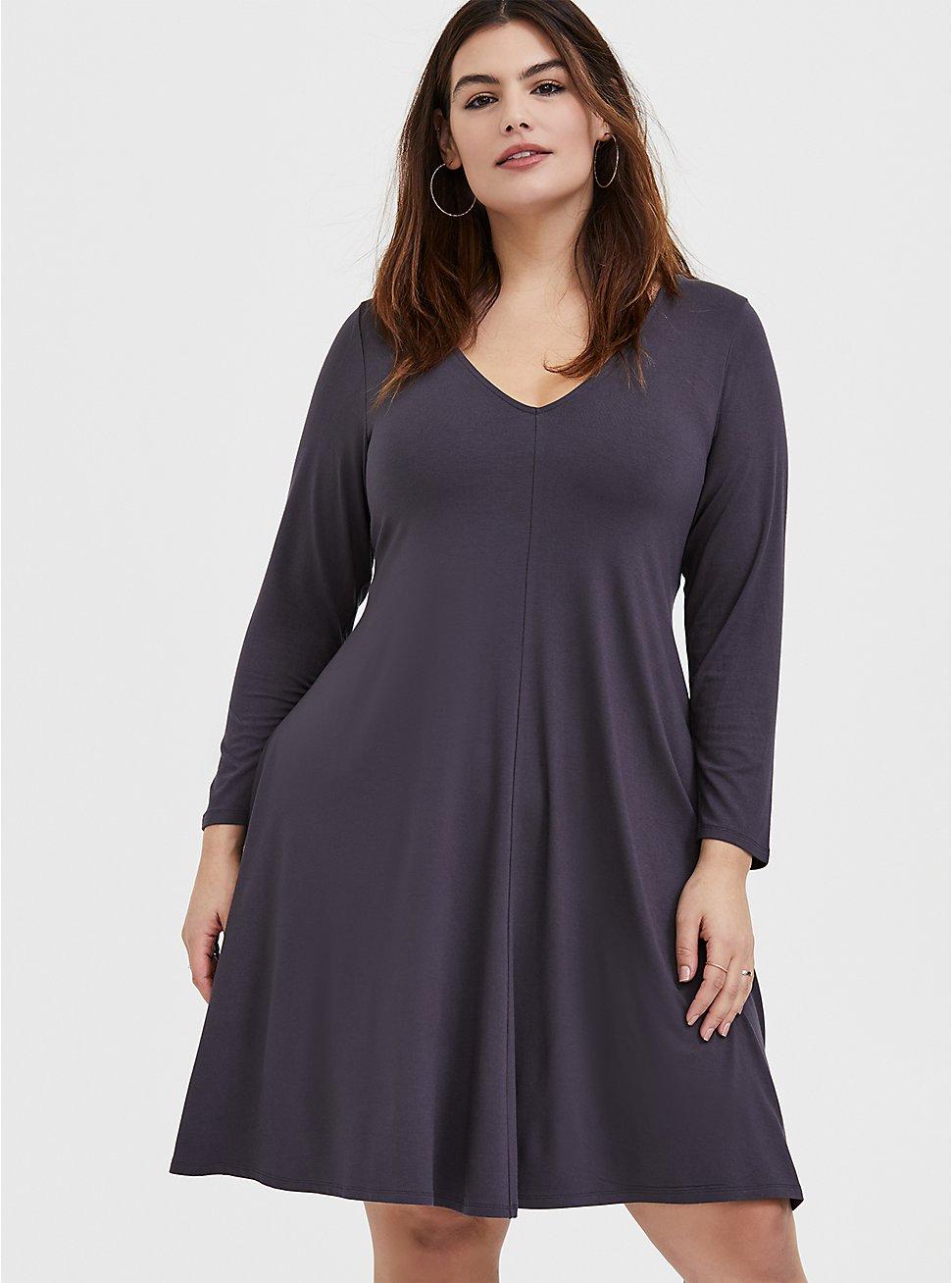 Dark Slate Grey Jersey Trapeze Dress, NINE IRON, hi-res