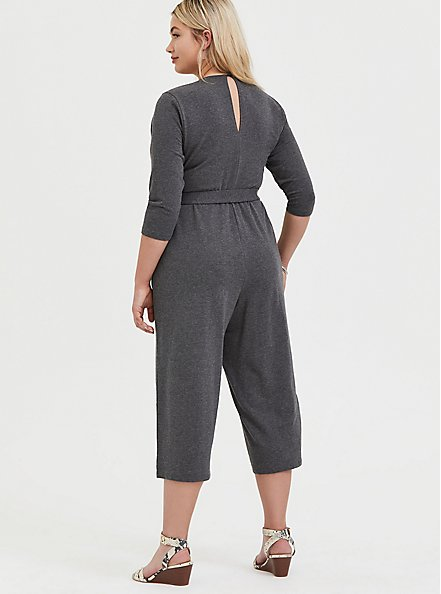 Charcoal Grey Terry Self Tie Culotte Jumpsuit, CHARCOAL HEATHER, alternate