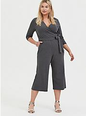 Charcoal Grey Terry Self Tie Culotte Jumpsuit, CHARCOAL HEATHER, hi-res