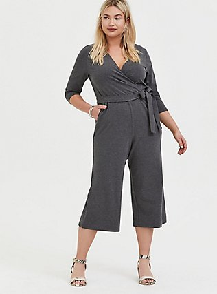 Plus Size Charcoal Grey Terry Self Tie Culotte Jumpsuit, CHARCOAL HEATHER, hi-res