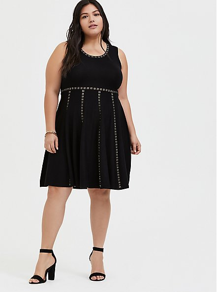 Plus Size Black & Gold Sweater Mini Skater Dress, DEEP BLACK, alternate