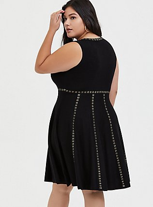 Plus Size Black & Gold Sweater Mini Skater Dress, DEEP BLACK, alternate