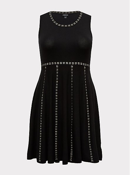 Plus Size Black & Gold Sweater Mini Skater Dress, DEEP BLACK, hi-res