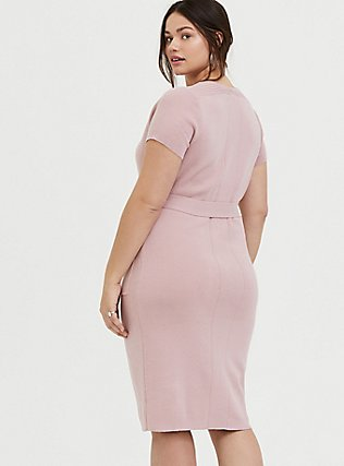 Mauve Pink Sweater Knit Self-Tie Knee-Length Shift Dress, PALE MAUVE, alternate