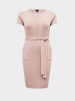Mauve Pink Sweater Knit Self-Tie Knee-Length Shift Dress, PALE MAUVE, flat
