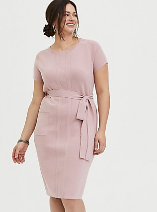 Mauve Pink Sweater Knit Self-Tie Knee-Length Shift Dress, PALE MAUVE, hi-res