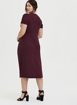 Plus Size Burgundy Purple Rib Button Midi Dress, WINETASTING, alternate
